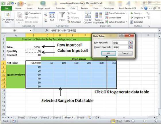 how to make data table on excel